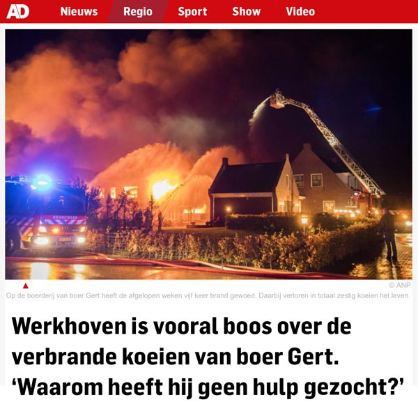 Werkhoven is vooral boos over de verbrande koeien van boer Gert